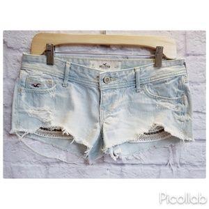 Hollister Distressed Beaded Pocket Denim Shorts